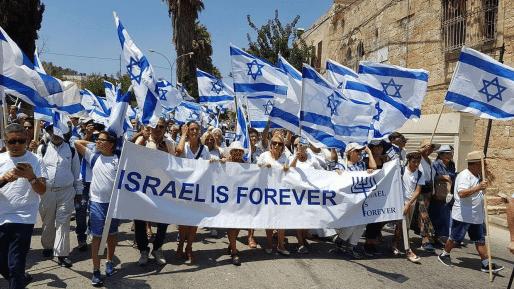 """יהודי צרפת צעדו בחברון עם דגלי ישראל: """"זו ארצנו הבלעדית"""""""