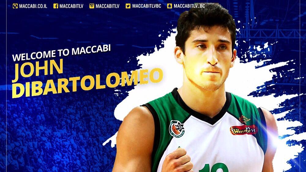 """כדורסל: ג'ון דיברתולומיאו חתם ל-3 שנים במכבי ת""""א"""