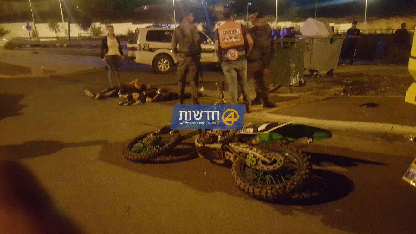 שני ערבים נעצרו לאחר שפגעו עם אופנוע בשוטר בירושלים