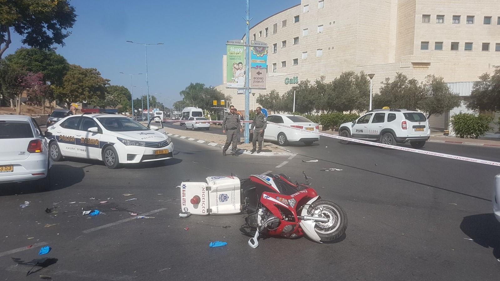 כונן איחוד הצלה נפגע מרכב בשדרות – מצבו בינוני