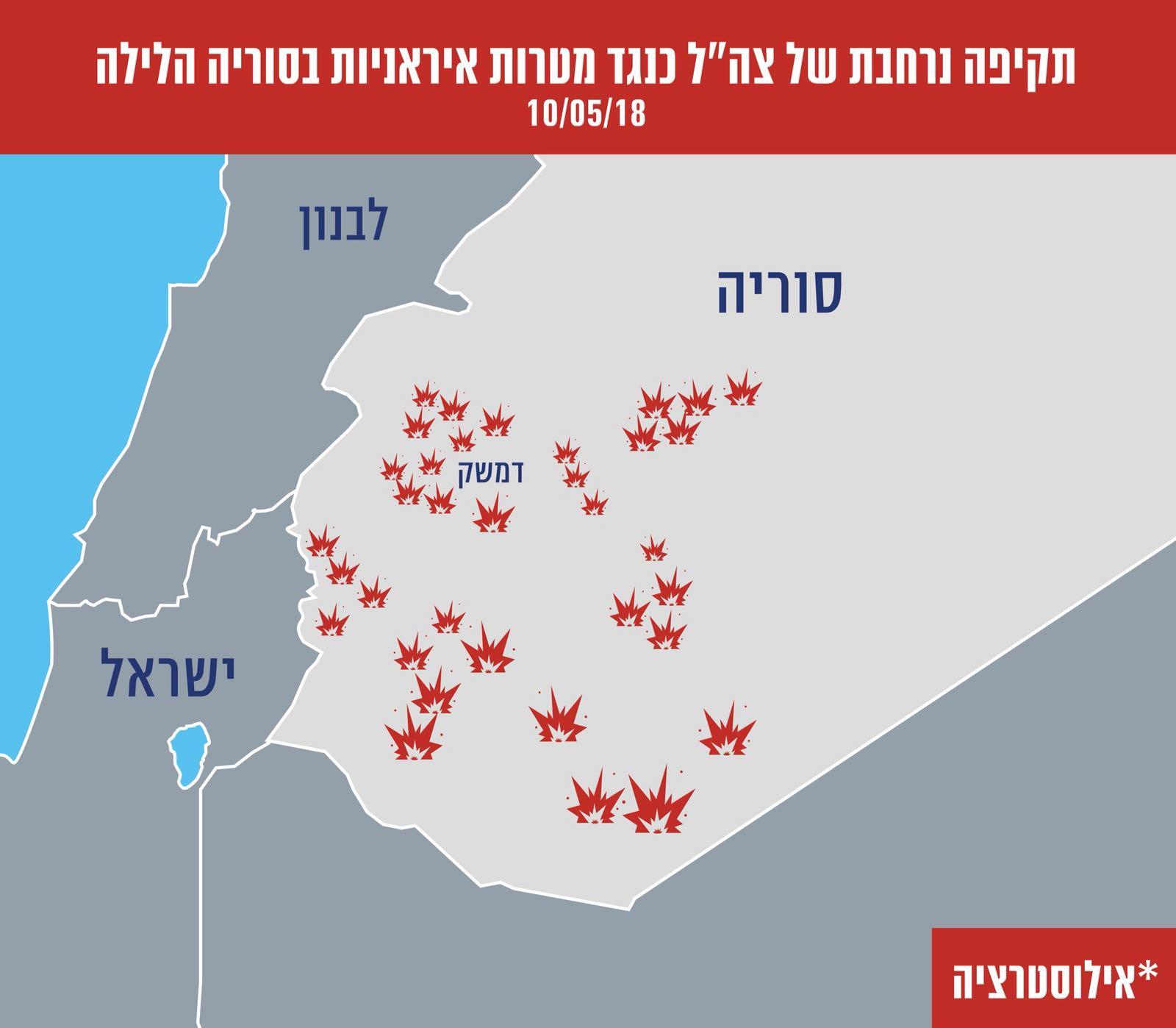 צה״ל: ״תקפנו עשרות יעדים צבאיים השייכים לכוח קודס האיראני בשטח סוריה״