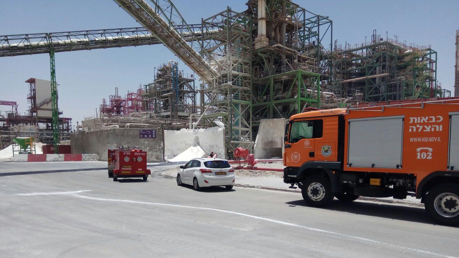כוחות הכיבוי הוזעקו לדליפת חומר כימי במפעל בדימונה