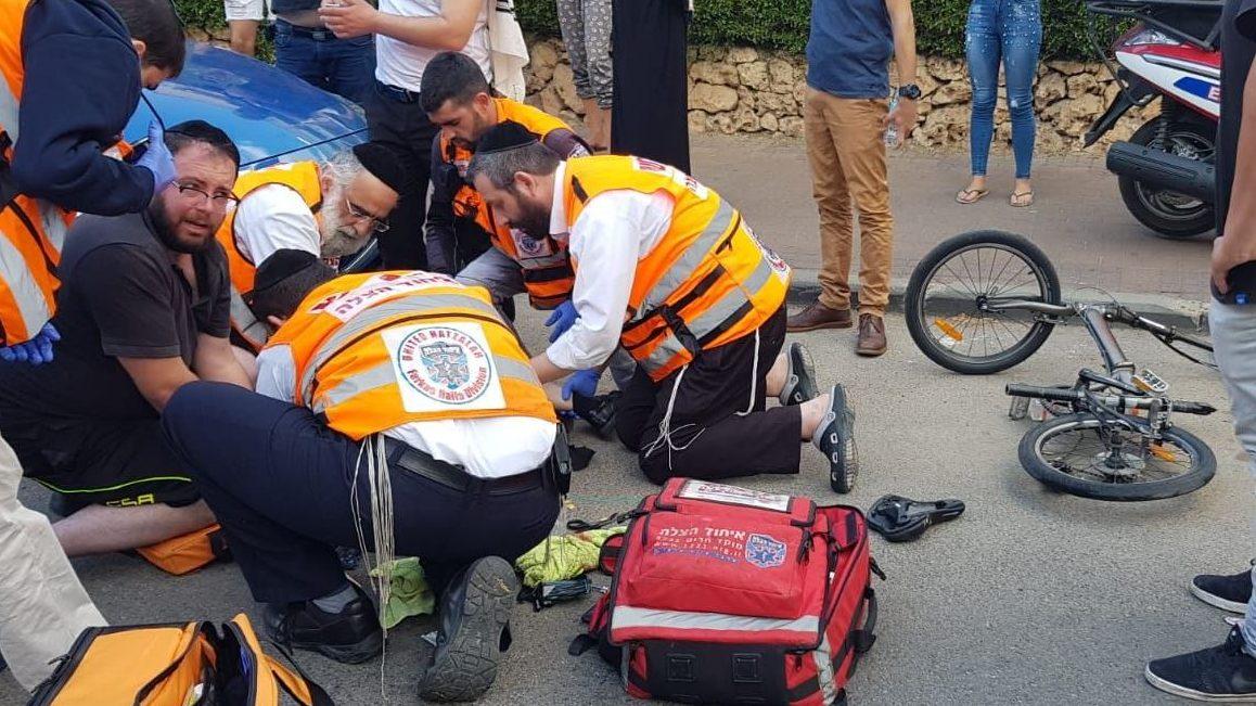 רוכב אופניים בן 11 נפגע מרכב במודיעין עילית – מצבו בינוני