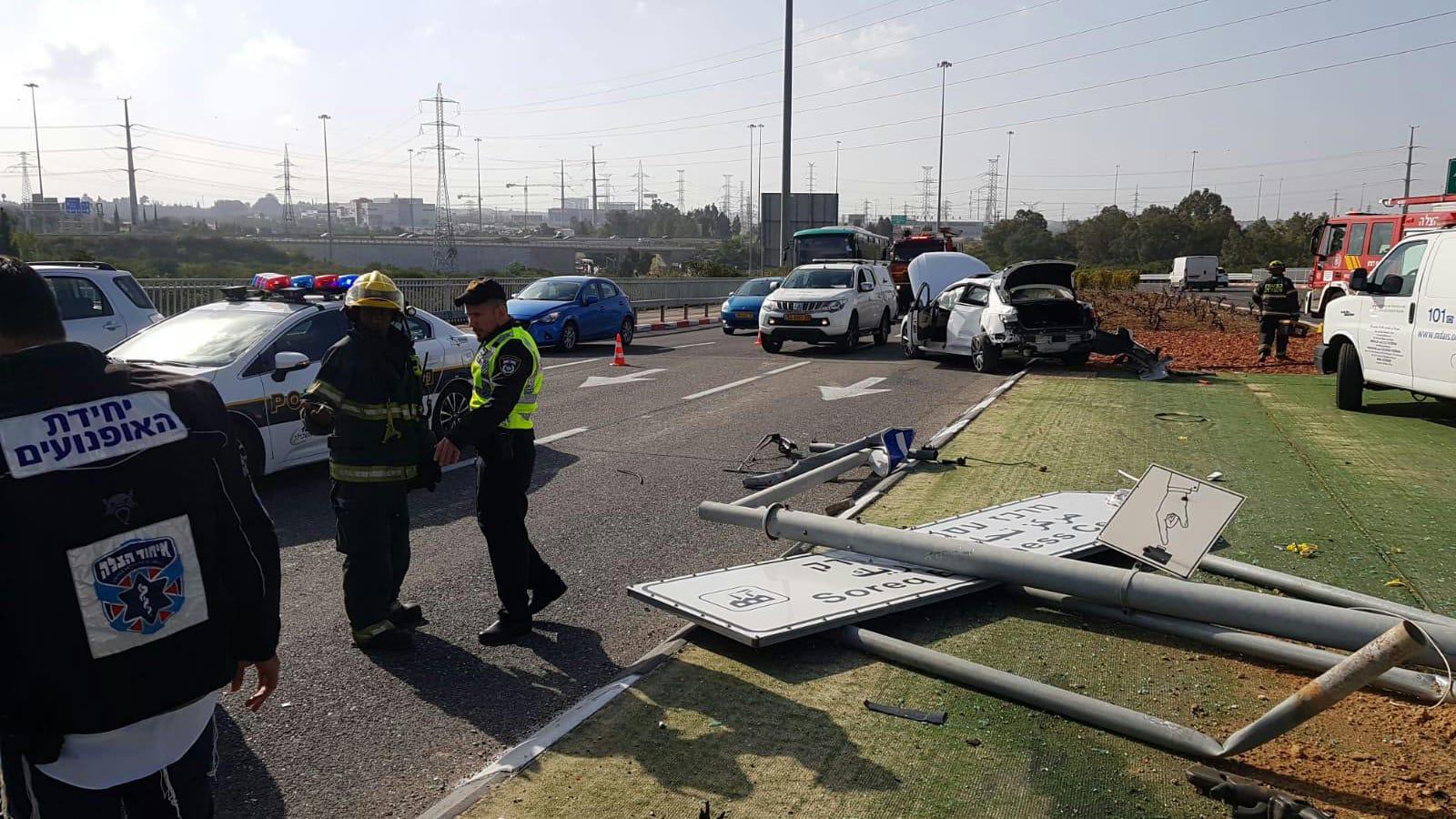 נהג נפצע בינוני בתאונה סמוך לראשון לציון