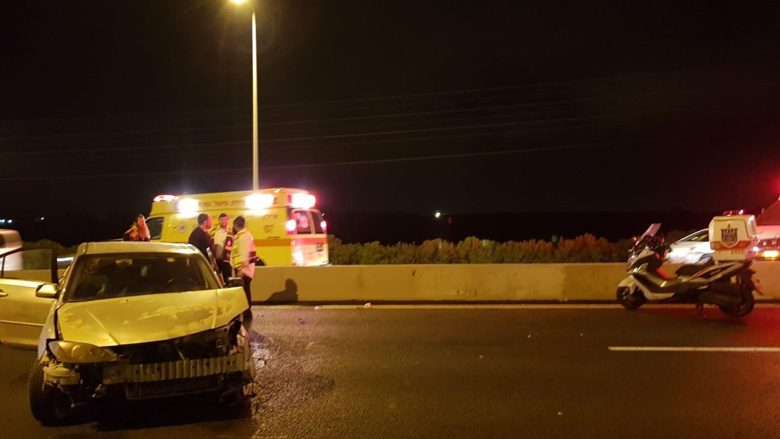 4 פצועים בתאונה בכביש 1 סמוך למחלף לטרון