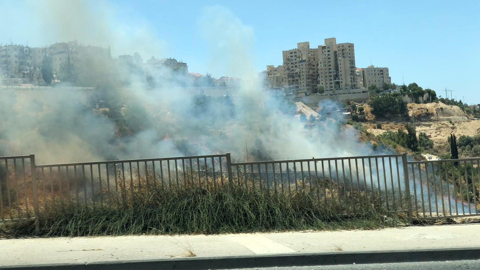 בן 15 נעצר בחשד להצתת שריפת הענק בליפתא שבכניסה לירושלים